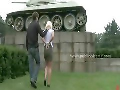 Blonde prostitute with large breasts getting a blowjob outdoors and a brutal fuck