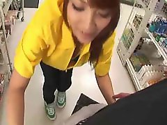 Girl gives blowjob in a drug store