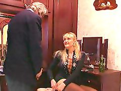 Old pervy man paints this blonds nails before getting foot job