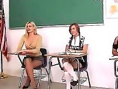 Blonde Schoolgirl Screaming While Getting Her Ass Spanked Red By The Teacher And 2 Girls Help In The Classroom