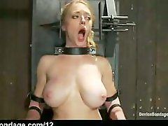 Strapped in metal high chair big boobs babe toyed