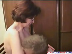 Mature brunette teacher seduces her student and gets pussy drilled