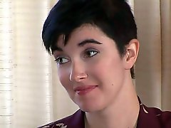 Short haired brunette Mia Knight is
