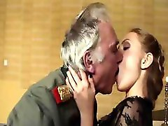 Hot military threesome as old general pounds a young blonde cadet