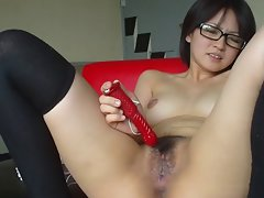 Japanese young cute sexy girl masturbation shows her pussy