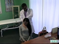 Brunette babe gets her doctor fucked in fake hospital