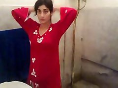 Beautiful girl wear dressing after shower