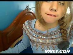 Desperate Young Brazilian Teen Sucking Her Toe