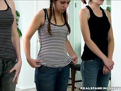 Three girl bare bottom school paddling