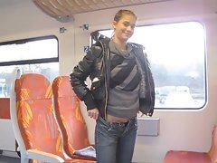 Anna public flashing at train